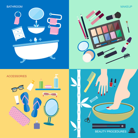 Flat style vector illustration. Personal hygiene and beauty. Bathroom furniture and accessories for washing and makeup. Spa beauty procedures icons set isolated on colored background