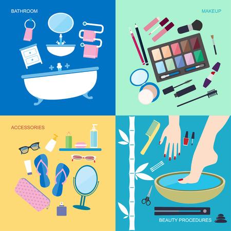 productos de belleza: Ilustración vectorial de estilo Flat. Higiene y belleza personal. Muebles de baño y accesorios para el lavado y el maquillaje. Spa procedimientos de belleza iconos conjunto aislado en el fondo de color