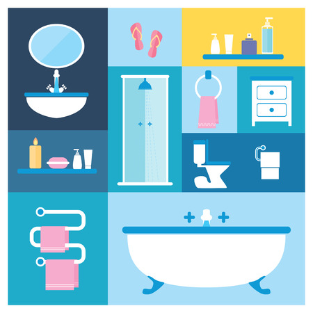 basin: Flat style vector illustration. Bathroom furniture objects icons set with interior accessories for washing  isolated on colored background