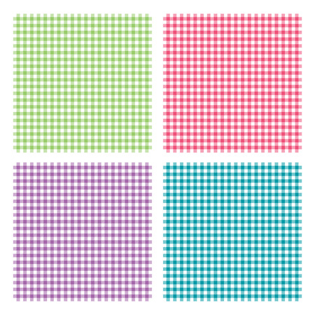 picnic blanket: Vector illustration of traditional gingham background with fabric texture. Checkered picnic cooking tablecloth seamless pattern. Four dining cloth of different colors
