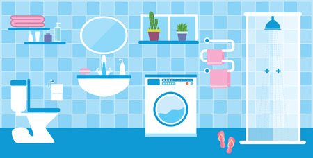Flat style vector illustration. Toilet and bathroom interior with furniture in blue colors Vector