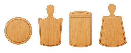 ベクトル空木製カッティング ボードと、白い背景で隔離のまな板のイラスト セット。キッチン ツール