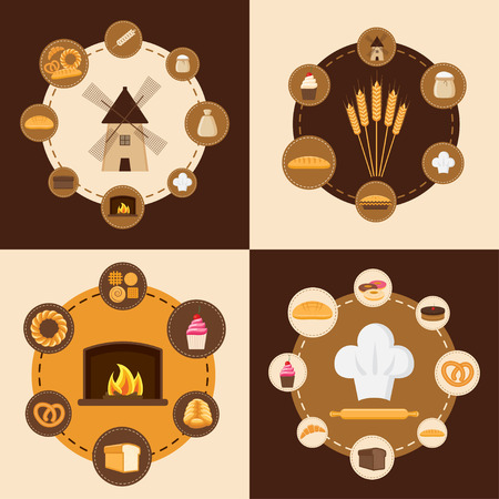 baking bread: Vector illustration. Flat design infographic style. Set of different kinds of bread, sweet pastries and bakery products. Baking bread, croissants, cupcakes, donuts, baton, cookies, buns, pretzel, cake, pies and flour products from bakery or pastry shop