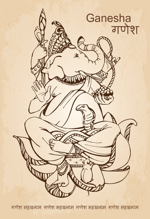 Vector hand drawn illustration of Indian god Lord Ganesha - the god of wisdom and prosperity, isolated on a beige background. Tattoo style Illustration