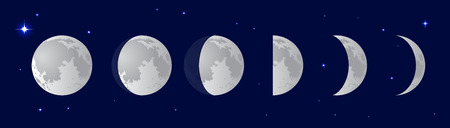 half full: Phases of the moon or lunar phase in the night sky with stars. Different silhouettes of the Moon