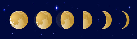 Phases of the moon or lunar phase in the night sky with stars. Different silhouettes of the Moon