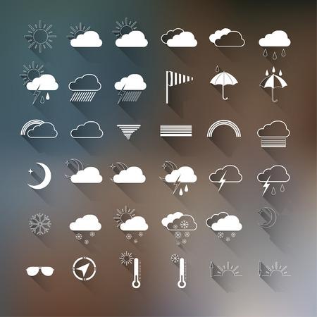 meteo: set di icone meteo su sfondo sfocato.