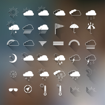 weather forecast: set of weather icons on blurred background.