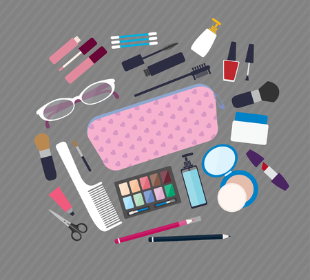 beauty products: Flat style vector illustration. Beauty and care, cosmetic products and make up elements icons set
