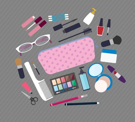 productos de belleza: ilustración vectorial de estilo plano. Belleza y cuidado, productos cosméticos y componer elementos de conjunto de iconos Vectores