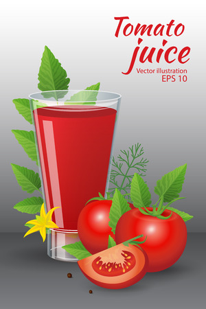 tomato cocktail: Food and drinks vector illustration. A glass of of tasty fresh tomato juice with  red ripe tomatoes, green tomato leafs, blossom and dill isolated on grey background. Realistic style Illustration