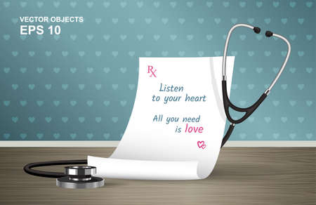 prescription: Vector illustration. Medical prescription and stethoscope on the table. A cure for all ills. Listen to your heart. All you need is love. Romantic design concept for Valentines Day