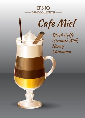 glass cup: Vector illustration. Coffee drink. Coffee Miel in transparent drinking glass cup.