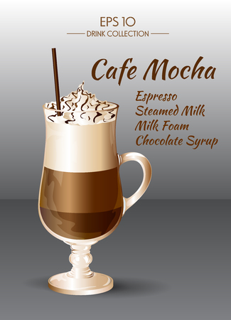 Vector illustration. Coffee drink. Coffee Mocha in transparent drinking glass cup.
