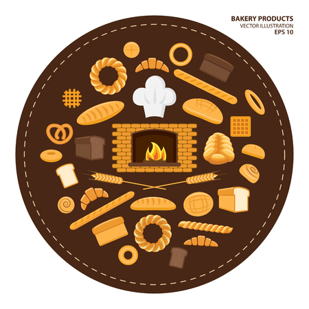 Vector illustration. Flat design style. Set of different kinds of bread and bakery products. Baking bread, croissants, donuts, buns, pretzel, baton and flour products from bakery or pastry shop