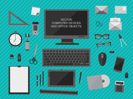 computer devices: Flat design vector illustration of workplace with computer devices, office objects and business  documents Illustration