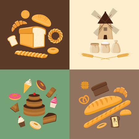 sweet pastries: Vector illustration. Flat design style. Set of different kinds of bread, sweet pastries and bakery products. Baking bread, croissants, cupcakes, donuts, baton, cookies, buns, pretzel, cake, pies and flour products from bakery or pastry shop