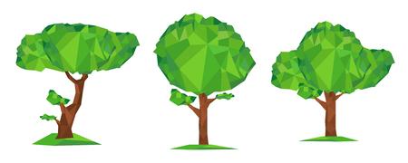 tronco: Conceptual ilustración vectorial estilo poli baja. Conjunto de árbol geométrico verde de polígono aislado sobre fondo blanco. Elemento de diseño estilizado Vectores