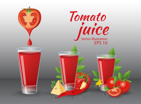 Vector vegetable illustration. Tomatoes and glass of fresh tomato juice with cheese, chily, parsley and tomato leaves on dark background