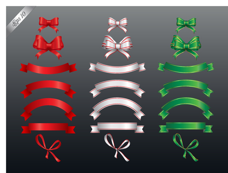 webbing: Set of colored ribbon and bow or banners for your text. Vector illustration and design elements