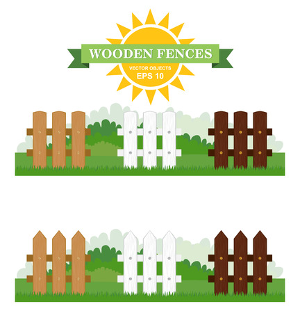 Set of vector Illustration of different seamless wooden fences with green grass. Design of garden elements