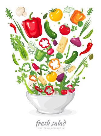 Insieme dell'illustrazione di vettore delle verdure fresche, mature, deliziose in insalata del vegano su fondo bianco. Cibo biologico sano in un piatto. Set di ingredienti per cucinare in stile piano Vettoriali