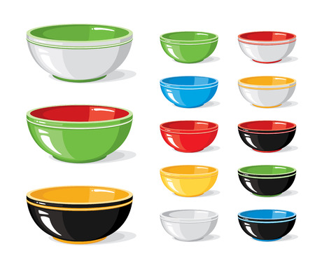 Vector illustration set of food icons. Different colourful empty bowls isolated on a white background. Cooking collection. Kitchen objects for your design Vectores