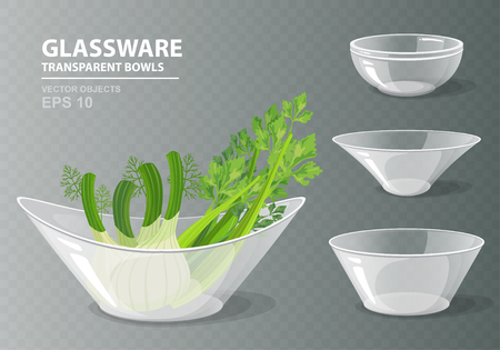 Vectorillustratiereeks van vier transparante glaskommen met selderie en venkel voor uw ontwerp. Keukenvoorwerpen op grijze geruite achtergrond. Kookcollectie in realistische stijl