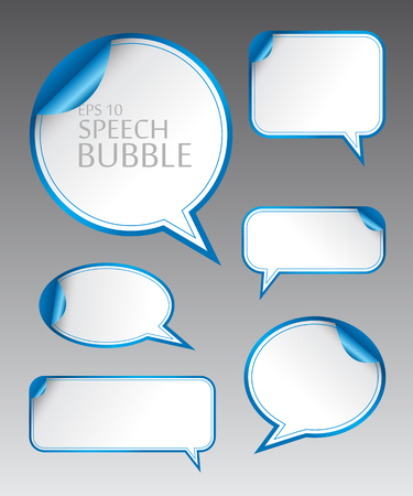 Vector illustration set.  Template of different empty blue speech bubbles with curved corner for dialogue and thought communication. Geometrical design