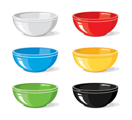 Vector illustration set of food icons. Different colourful empty bowls for breakfast or dinner isolated on white background. Cooking collection. Kitchen objects for your design  イラスト・ベクター素材