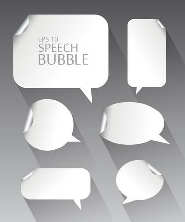 Vector illustration set.  Template of different empty white speech bubbles with silver metal curved corner and long shadow.  Dialogue and thought communication. Geometrical design Illustration
