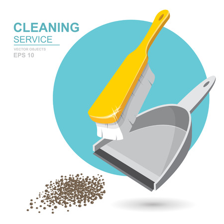 Vector Set of cleaning service elements. Cleaner. Cleaning supplies. Housework tools, House cleaning. Garbage, dustpan and brush. Template for banners, web sites, printed materials, infographics