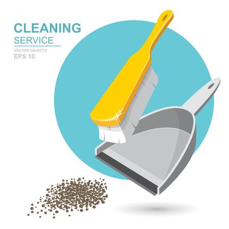Vektor Set Reinigungsservice-Elemente. Reiniger. Reinigungsmittel. Hausarbeitswerkzeuge, Hausreinigung. Müll, Kehrschaufel und Pinsel. Vorlage für Banner, Websites, gedruckte Materialien, Infografiken