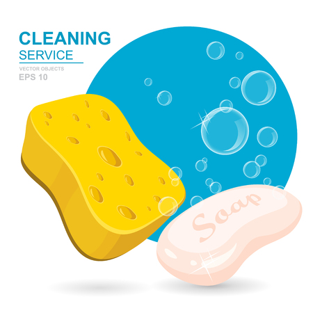 Vector Set of cleaning service elements. Cleaning supplies. Housework tools, House cleaning. Soap, sponge and soap foam bubbles. Template for banners, web sites, printed materials, infographics
