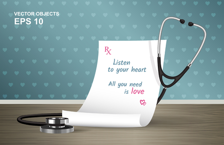 stetoscope: Vector illustration. Medical prescription and stethoscope on the table. A cure for all ills. Listen to your heart. All you need is love. Romantic design concept for Valentines Day
