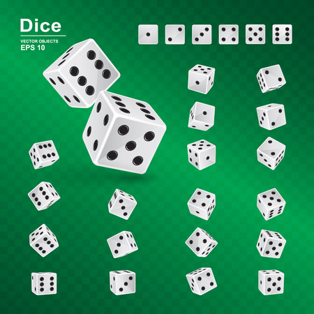 Dice gambling template. Vector illustration of white cubes with black pips in all possible turns on green checkered background. Casino symbol