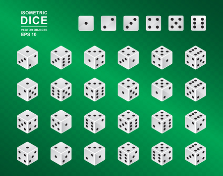 Six sided Isometric Dice. Vector illustration of white cubes with black pips in all possible turns on green checkered background. Casino symbol Vectores