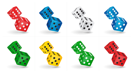 six objects: Vector game illustration. Six sided casino isolated on white background. Gambling template Illustration