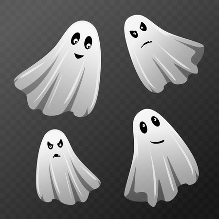 Set of ghost characters with different face. Illustration