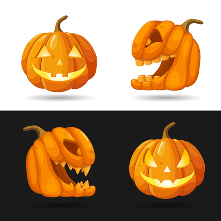 Halloween pumpkin characters with different faces.