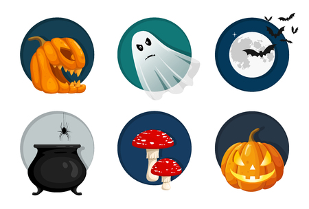 Halloween elements, objects and icon set. Cute vector illustration for your design Illustration