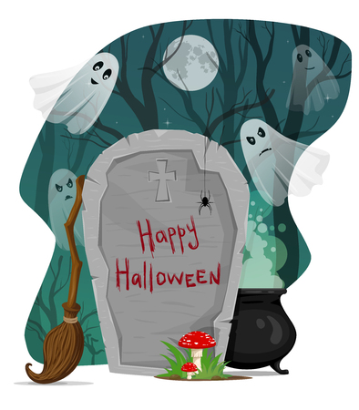 dead tree: Halloween vector illustration. Scary creepy dark forest with ghosts, tombstone, mushrooms, witch broom, cauldron, spooky trees and full moon Illustration