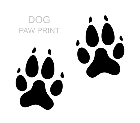 Patte de chien. Silhouette noire Empreinte. Patte d'animal isolé sur fond blanc. Illustration vectorielle