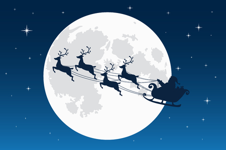 Santa Claus flying with reindeer sleigh. Dark Silhouette. Full moon and stars on the background. Symbol of Christmas and New Year. Vector illustration. Cartoon style Illustration