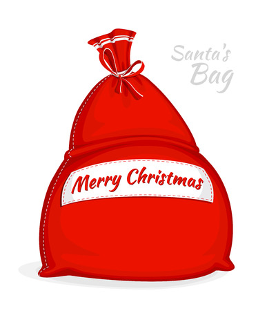 Santa Claus red bag. Big sack for gifts. Symbol of Christmas isolated on white background. Vector illustration. Cartoon style