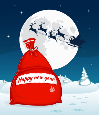 Christmas winter landscape with big red bag with gifts. Santa flying with reindeer sleigh. Full moon and stars on the background. Symbol of Christmas and New Year. Vector illustration. Cartoon style Ilustração