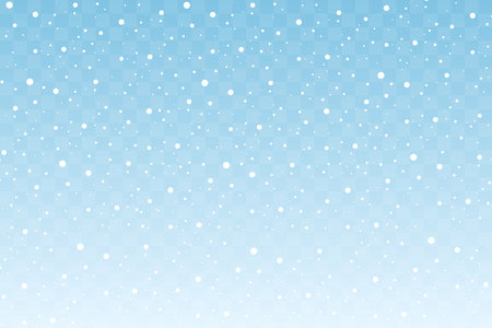 Falling snow isolated on blue transparent background. Christmas and New Year decoration. Vector illustration
