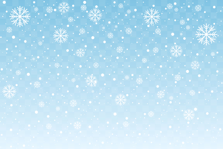 Falling snow with stylized snowflakes isolated on blue transparent background. Christmas and New Year decoration. Vector illustration