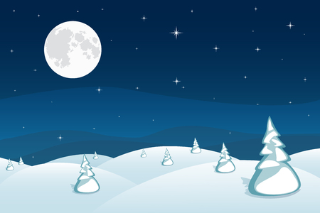 Winter landscape background. Dark blue mountains snowy hills and pines on foreground. Wonderland night. Christmas and New Year wallpaper. Vector illustration