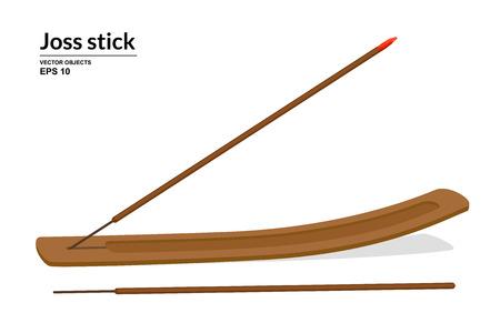 Burning joss stick. Wooden incense stick holder isolated on white background. Vector illustration Ilustração